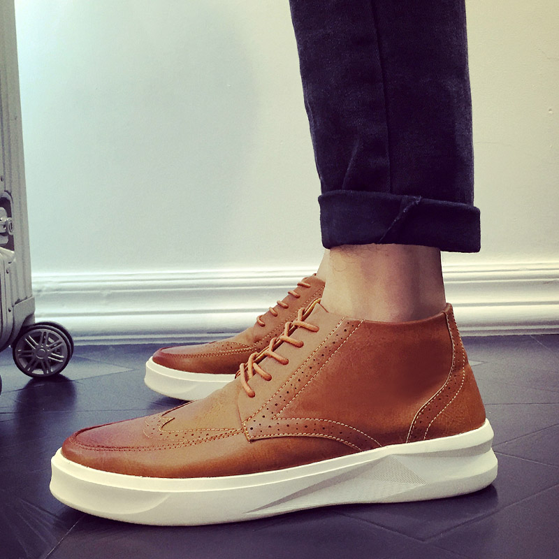 2016 leather boots fashion brogue brand casual