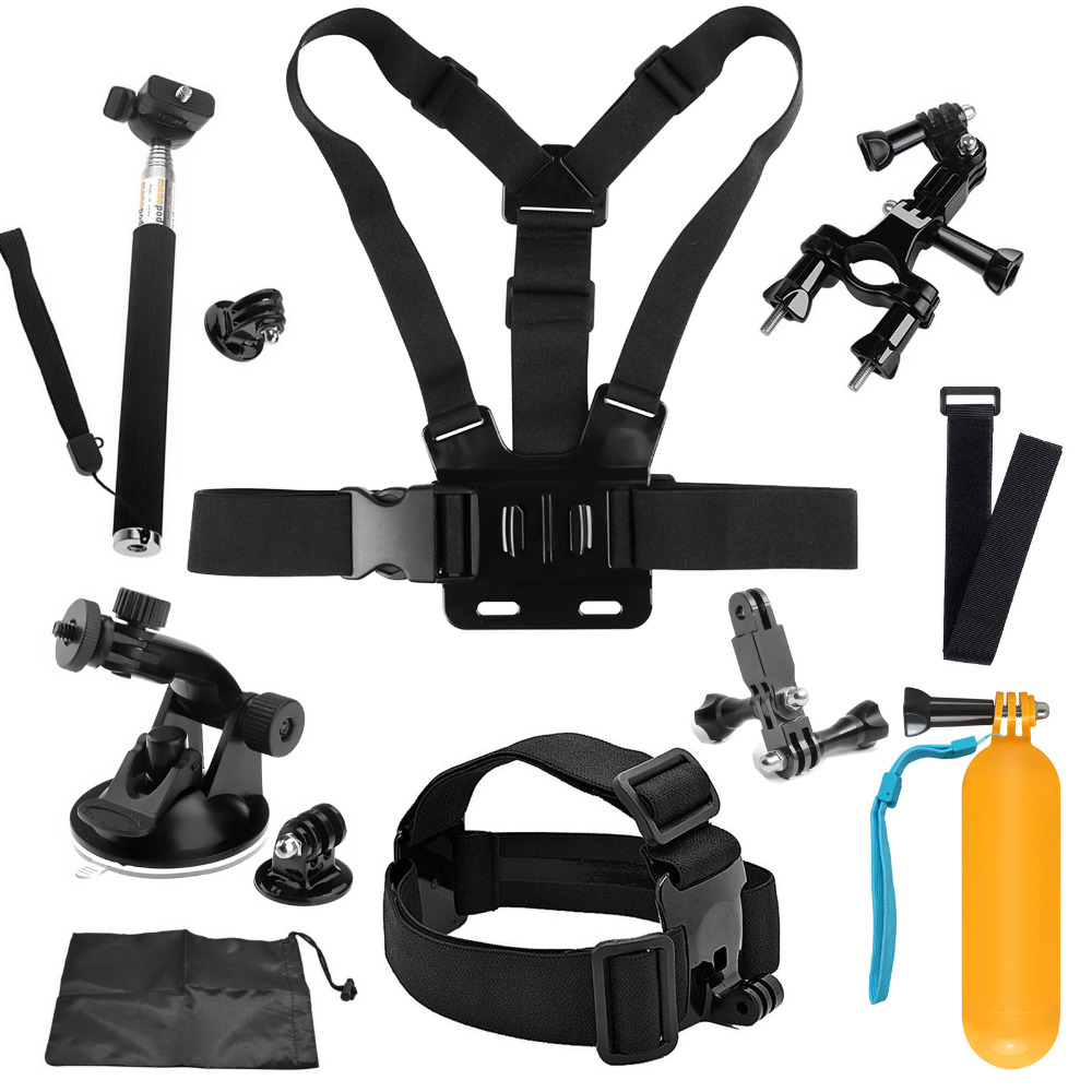 SHOOT for Go Pro Mount Accessories for GoPro Hero 5 6 4 SJCAM SJ4000 Xiaomi Yi 4K Eken H9 Monopod Bicycle Clamp Strap Mount Kits 16in1 gopro accessories set helmet harness chest belt head mount strap monopod for go pro hero 5 4 3 2 1 xiaomi yi action camera