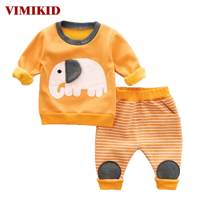 100% cotton hello kitty kids baby pajamas 2 pieces clothes sets long sleeved top lleopard pants VIMIKID Baby Clothing Sets 2017 Autumn Long-sleeved O-neck Elephant Warm Cotton Sweate + striped Casual Pants Kids Clothes Suits