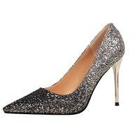 Hight del talón zapatos de tacón alto de la boca baja de Las Mujeres nitidez era delgada discoteca color degradado lentejuelas zapatos