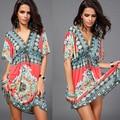 Мода ретро печать глубокий V шеи хиппи чешские летнее платье женщины-бич ночной клуб dressWL2201