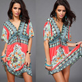 Fashion Retro Print Deep V Neck Hippie Bohemian Summer Dress Women Beach Dress nightclub dressWL2201