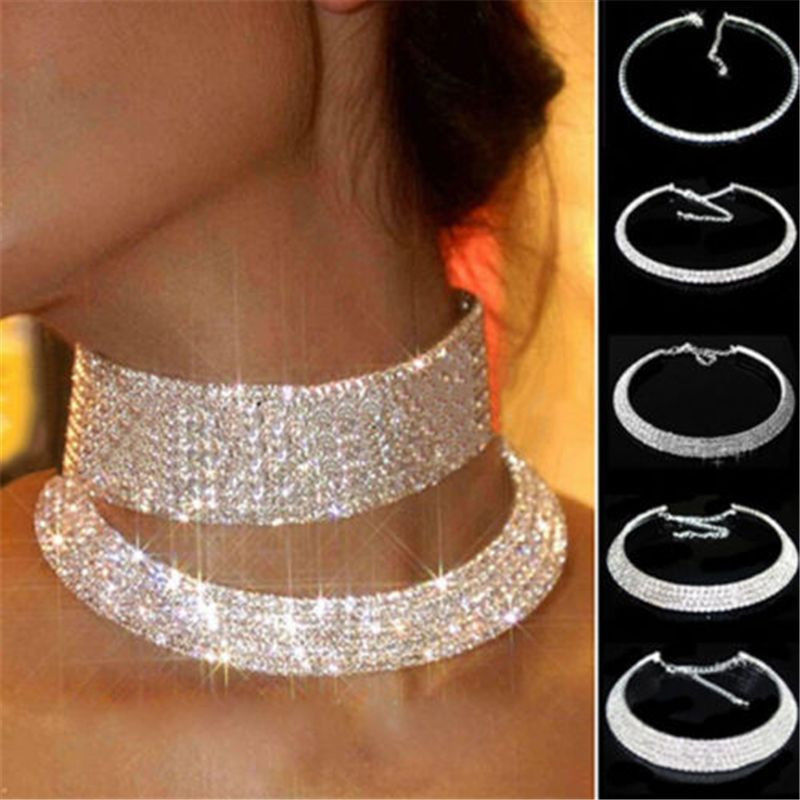 Women Charming Crystal Rhinestone Collar Choker Necklace Wedding Party Jewelry Hot Sale #Y51#