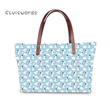 ELVISWORDS Womens Shoulder Bag Cartoon Print Top-handle Bags Sweet Girls Cute Handbags Large Capacity Clutch Sac Feminina
