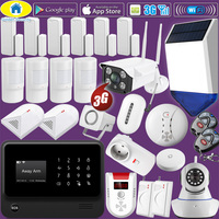 Комплект 1080 P Wi Fi IP Камера G90B плюс + WiFI 3g GSM сигнализация дома Системы безопасности, повторитель сигнала, солнечный Мощность сирена, Стекло дат