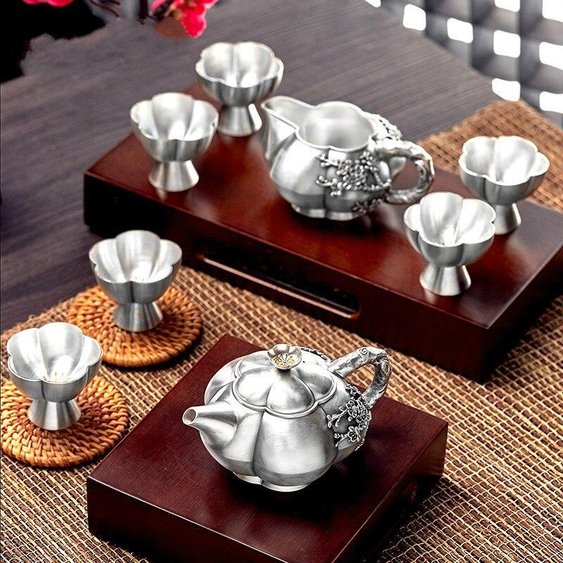 S999 ensemble de thé en argent sterling kungfu ensemble de thé théière portable ensemble de thé cérémonie de thé ensemble de théière