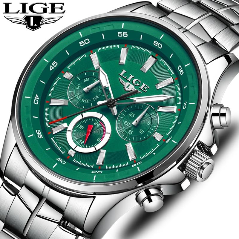 LIGEメンズ腕時計トップブランドの高級クォーツ時計男性防水スポーツウォッチファッションカジュアルミリタリー時計男性レロジオMasculinorelógiolige masculino 9814