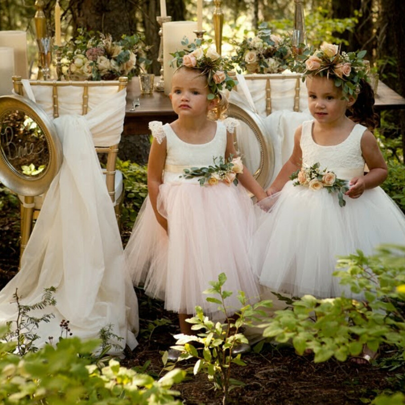 New Arrival 2019 Lace White Tulle Ball Gown Flower Girl Dresses For Wedding Junior Bridesmaid Dress Baby Girl Infant Dress