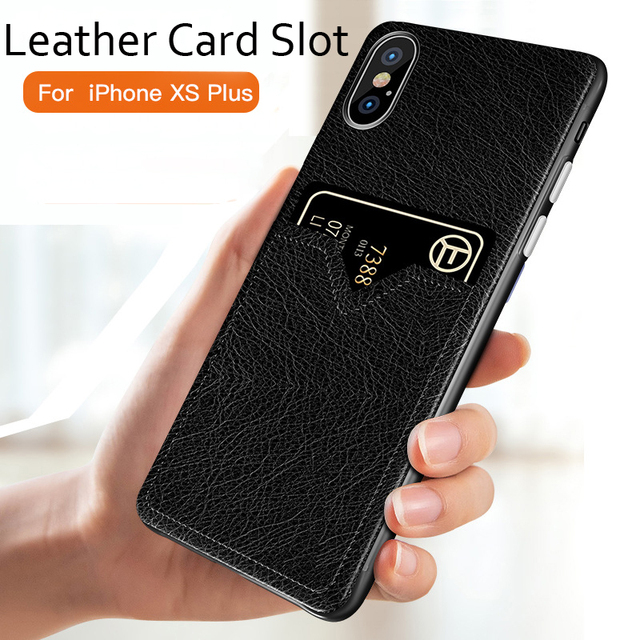 pretty nice 878a4 3519e Card Slot Leather Case for iPhone XS XS Max XR Slim Leather Card Holder  Wallet Phone Cover Case for iPhone X 8 7 6 6S Plus Capa