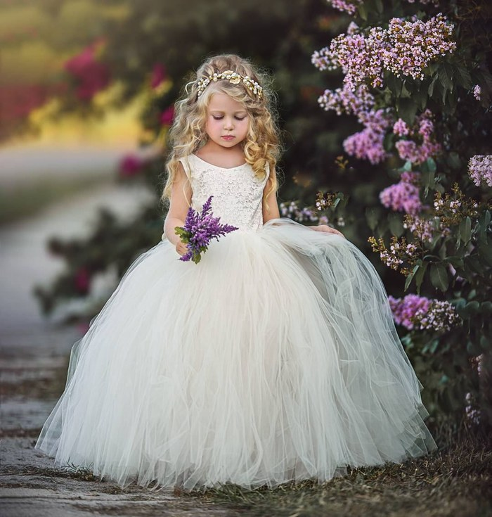 Flower Girl Dress Ivory Vintage Birthday Party Prom Ball Gown For Kid Ytz343 (1)
