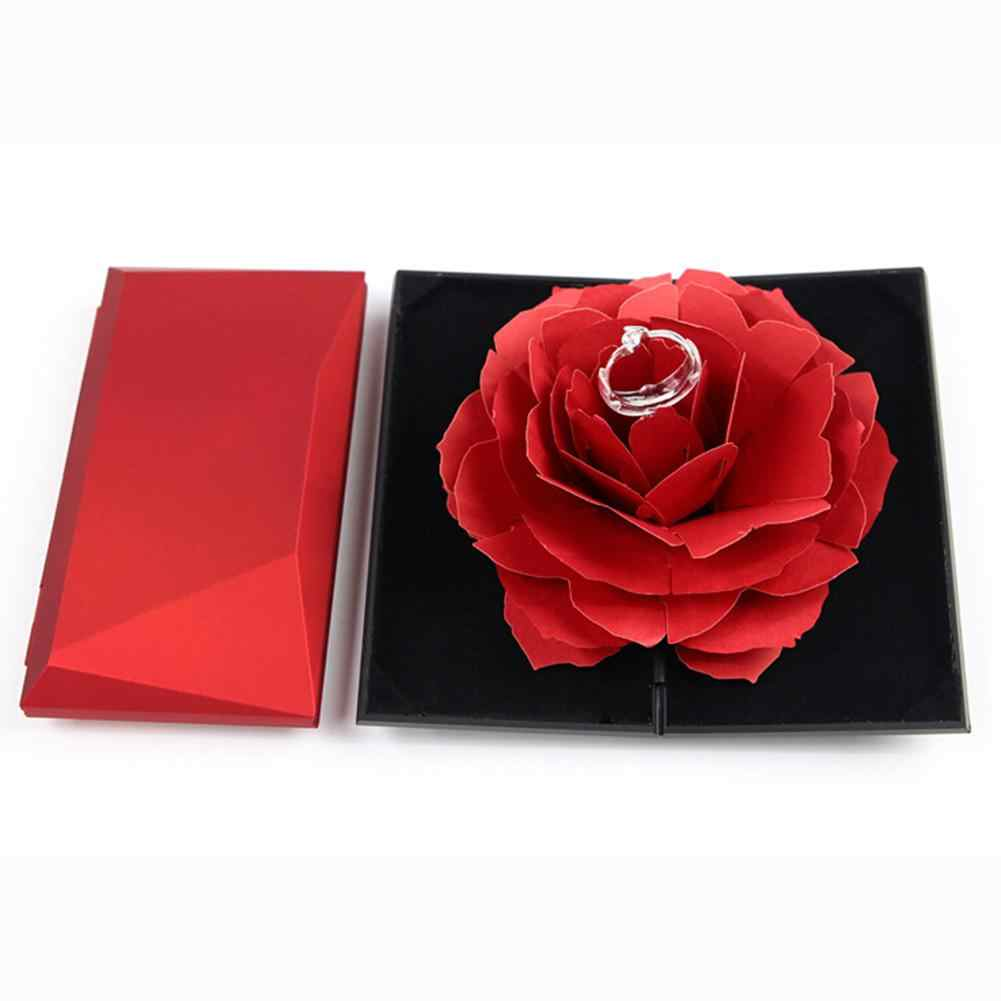 3D Pop Up vintage fashion elegant Rings Box Wedding Engagement Ring Rose Flower Gift Boxes for Jewelry Display Storage Holder Ca
