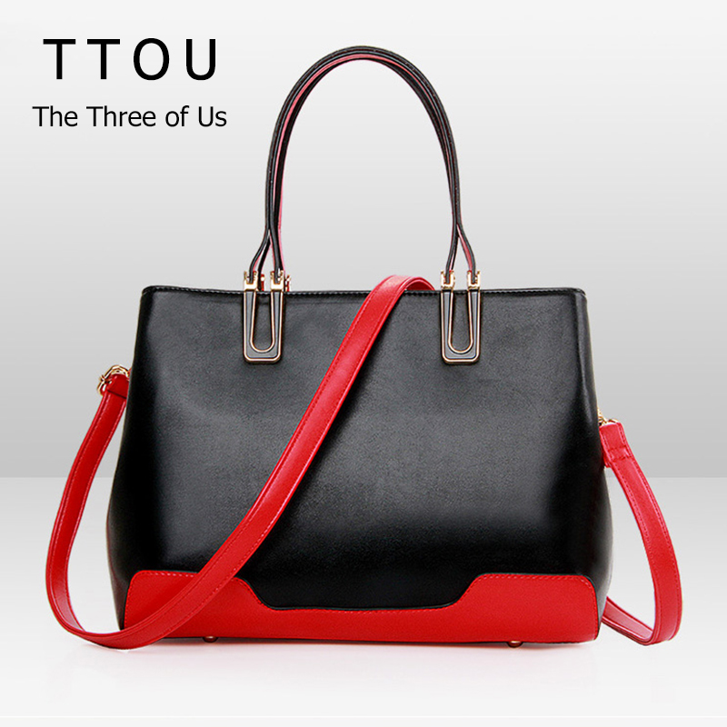 ФОТО Patchwork Female Artificial PU Leather Shoulder Bag Nobel Lady Contracted Style Casual Handbags Vintage Women Fashion Bags TTOU