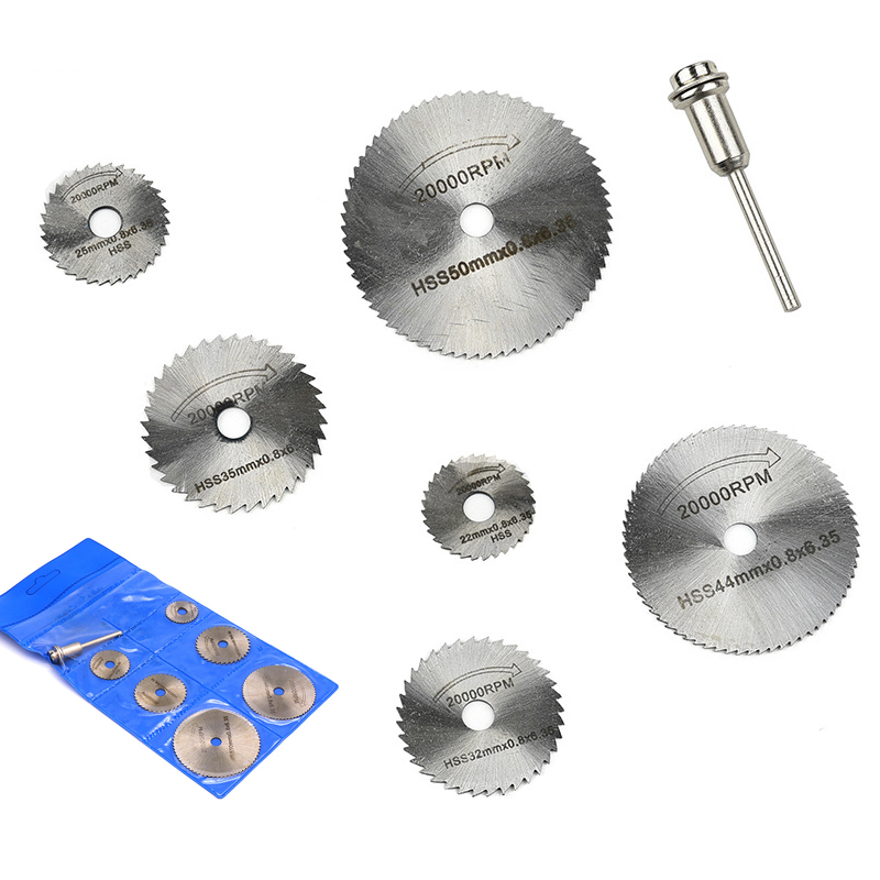 7pcs Mini HSS Circular Saw Blades Rotary Tool For Rotary Metal Cutter Power Tool Set Wood Cutting Wheel Discs Wood Saw Blade Set