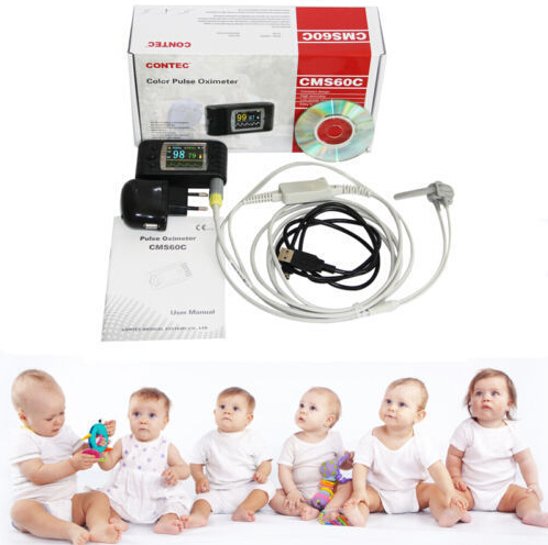 2 pic factory direct selling CMS60C Color Lcd Portable Handheld Digital Spo2 Monitor Pulse Oximeter + Software for Infant