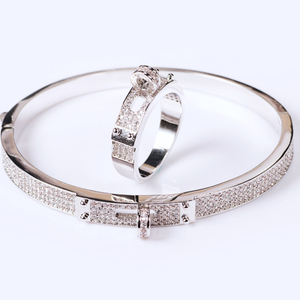 Image 3 - Blucome Womens Zircon Bangle jewelry For Party Perfect Gold color Mens Bangle Pulseira Mujer Women Love Bangle & Braceletes