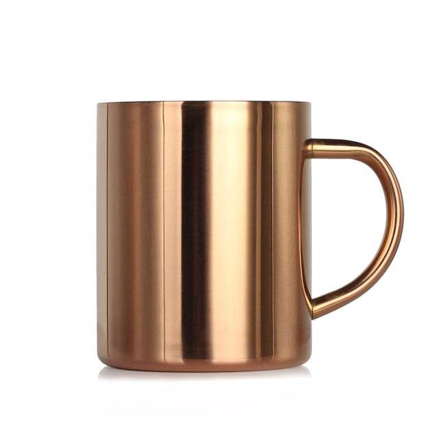 1pc Stainless Steel Copper Coffee Mugs Milk Tea Beer Cup With Handle Plated Moscow Mule