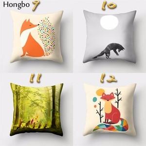 Image 4 - Hongbo housse de coussin carrée avec motif de dessin animé de renard, pour canapé, décoration de la maison, 1 pièce