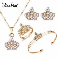 Vienkim 2018 Latest Gold Color Crown Bridal Jewelry Set Hollow Flower Necklace/Earrings/Ring/Bracelet Indian Wedding For Woman(China)