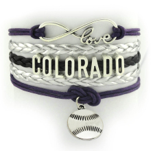 Custom Sports Cheer Bracelets Infinity Love Colorado Sports Team Bracelet NCAA Purple Silver Braid Bracelet
