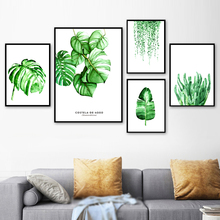 Watercolor Plant Monstera Wall Art Canvas Painting Nordic Poster And Print Pictures For Living Room Scandinavian Home Decor