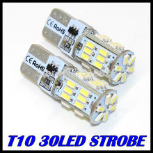 2PCS/LOT t10 led strobe high quality Strobe flash w5w 30smd t10 30led 3014smd car led Light Bulbs wholesale free shipping