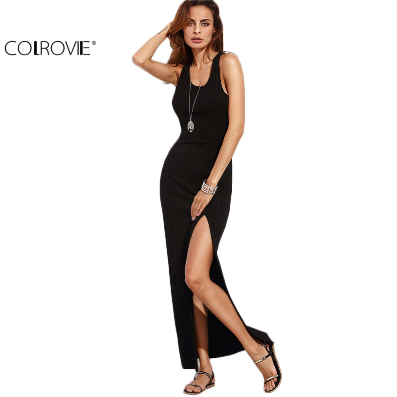 COLROVIE Women Black Racer Back Split Side Sleeveless Long Dress Summer Beach Wear Fashion Slim Round Neck Sheath Dress