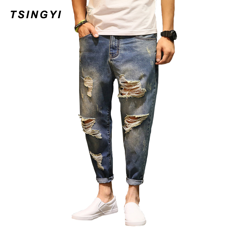 Tsingyi Big Hole Ripped Jeans Denim Men Jeans Hommes Loose Ankle-Length Harem Pants Exaggerated Beggar Streetwear Mens Trousers