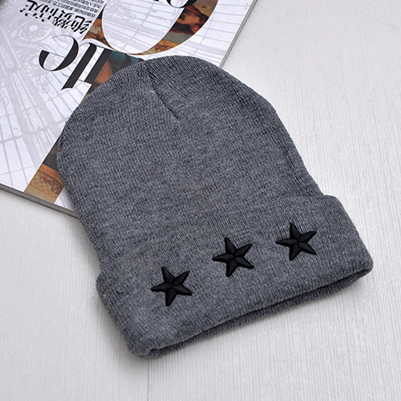 2016 New Fashion Star embroidered Knitted Cap Men Casual Hip-Hop Hats Knitted Wool Skullies Beanie Hat Warm Winter Hat for Women 2017 winter women beanie skullies men hiphop hats knitted hat baggy crochet cap bonnets femme en laine homme gorros de lana