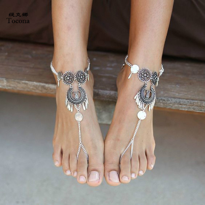 Tocona Vintage Silver Color Foot Chain Bohemian Tassel Anklets for Women Barefoot Sandals Summer Jewelry Drop Shipping 3544