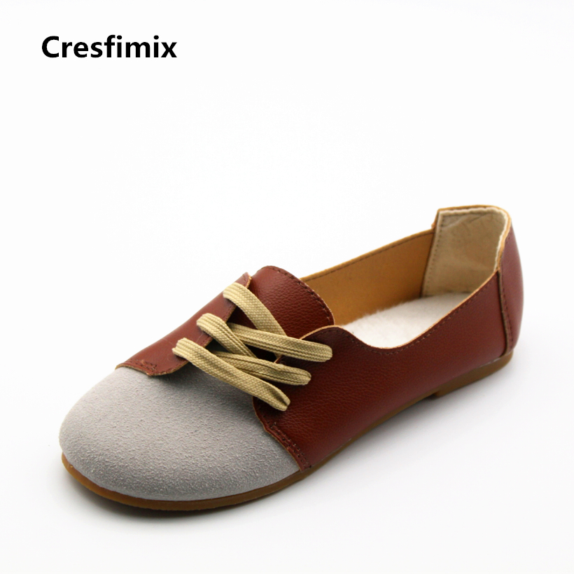 Cresfimix women cute soft & comfortable lace up flat shoes female retro style brown street flats lady spring and summer shoes casual woman british style flat retro shoes soft bottom lady outdoor driving shoes black brown wine red lace up peas shoes