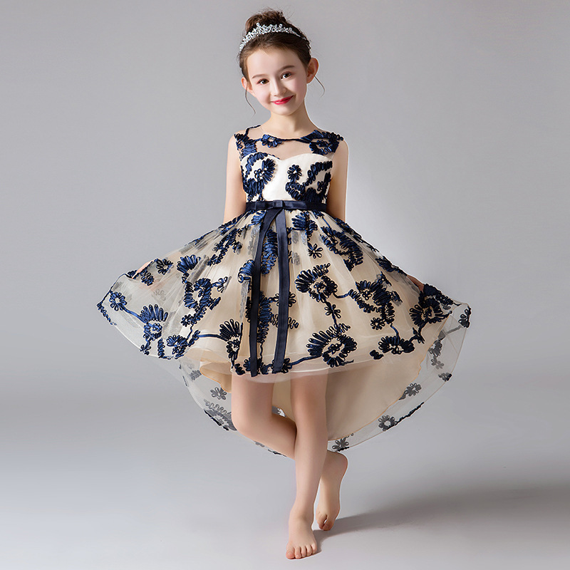 Cute Princess Merriage Dresses Ball Gown O-Neck Sleeveless Bow Sashes Flower Girl Dresses First Communion Dresses For Girls 2020