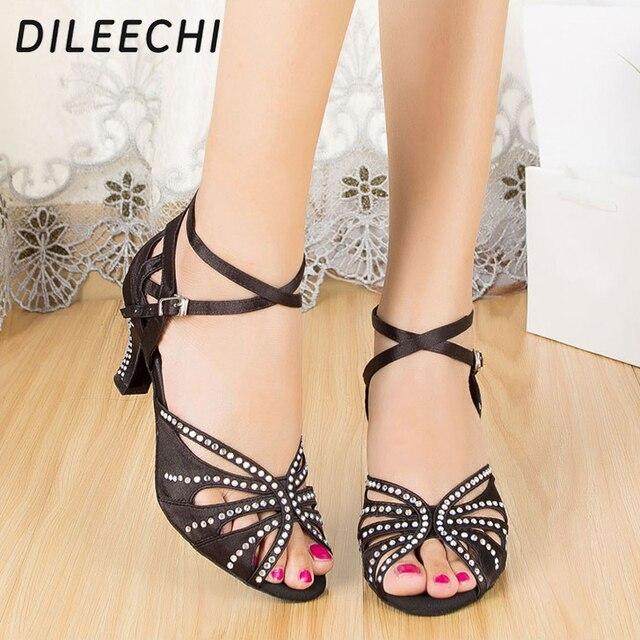 DILEECHI Black satin Women s rhinestones Latin dance shoes Ballroom dancing  shoes soft outsole square dance shoes heel 6cm ef1f0dd6ef3a