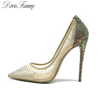 Doris Fanny Crystals women shoes high heels sexy stilettos glitter shoes Wedding high heels pumps 12cm large size 44