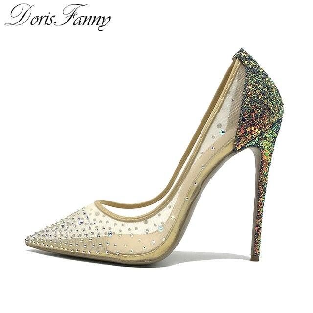 Doris Fanny Kristaller kadınlar yüksek topuklu ayakkabı seksi stilettos glitter ayakkabı Düğün yüksek topuklu pompaları 12 cm büyük boy 44