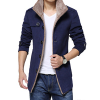 2015 Fashion Brand Men Wool Coat Men Single Breasted Slim Fit Mens Pea Coat High Quality