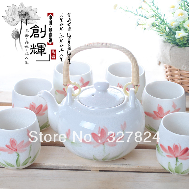 free shipping high quality 7pcs hand painted Lotus flowers Ice crack tea set beautiful  Porcelain kung fu tea cup for sale