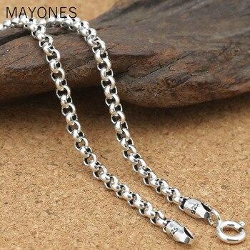 14026725a317 MAYONES 3mm 100% Real 925 plata esterlina cadenas collares para hombres  accesorios de plata 45
