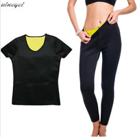 Body Shaper Women Neoprene T Shirts Pants Sweating Set Corset Slimming Suit Shapewear Underwear Weight Loss