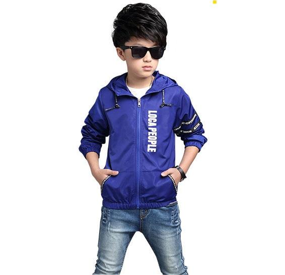 Children 's 2016 Spring and Autumn new hooded jacket children' s letters long - sleeved zipper jacket kids