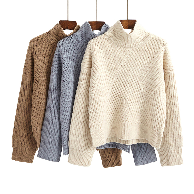 New Design 2017 Fashion Sweater Women Thick Full Sleeve Pullovers Ladys Warm Sweater Turtleneck Shirts For Woman D12153