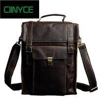 Men's crazy horse Leather backpack Multifunctional genuine leather 14 Laptop rucksack Cowhide school travel shoulder bag