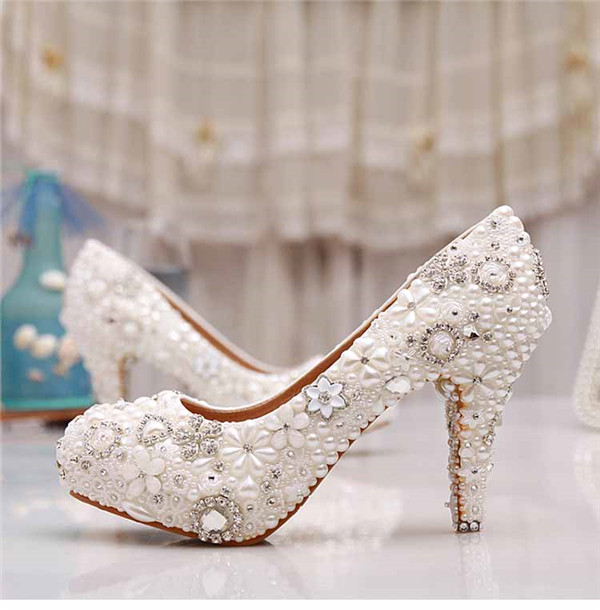 2017 rhinestone Bridal shoes female High Heels flower pearl party african Shoes Women Pumps for wedding new arrival white wedding shoes pearl lace bridal bridesmaid shoes high heels shoes dance shoes women pumps free shipping party