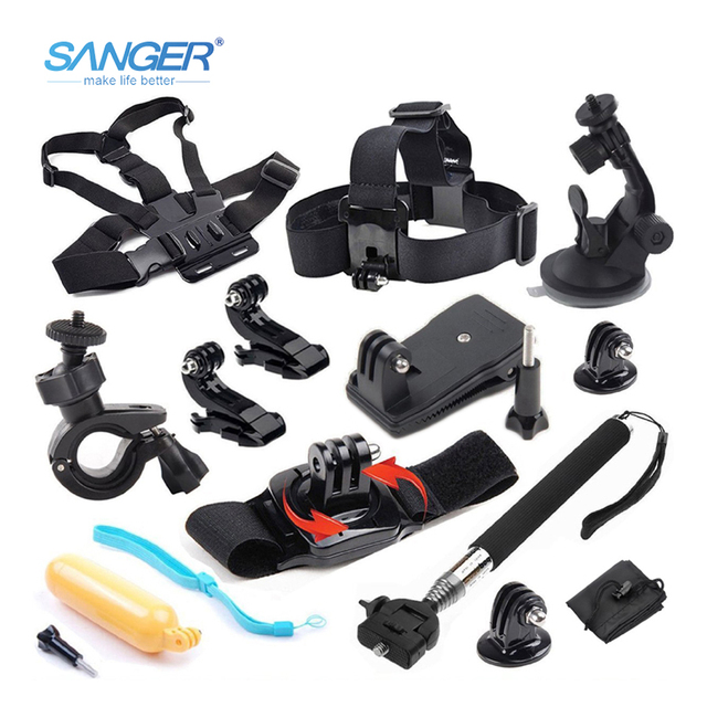 SANGER for Gopro Accessories set chest mount 12in1 kit for Go Pro Hero 6 5 4 3+ 3 Xiaomi Yi 4K Aee Sjcam sj4000 Action Camera