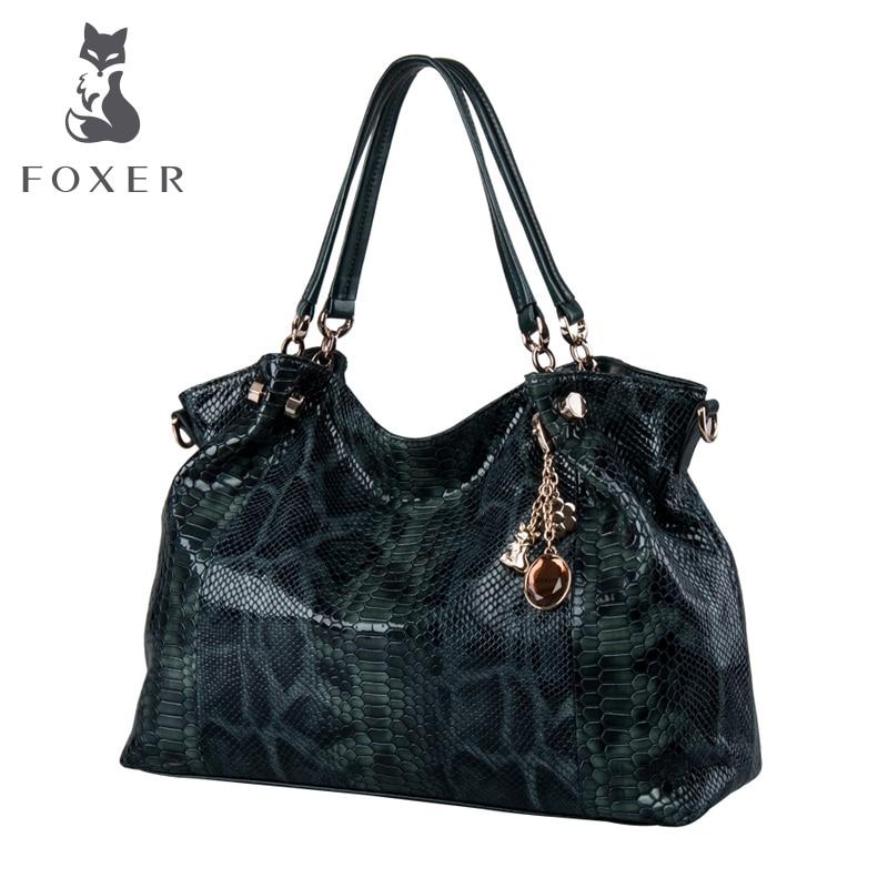 FOXER Brand Women Snakeskin Genuine Leather Classic Designer Shoulder Bag Women Handbags Elunic Female Bags Women