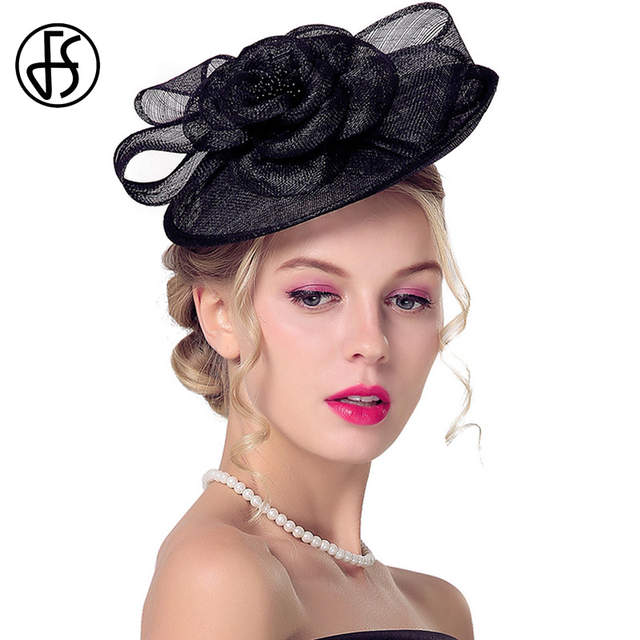 2fb27d8f Online Shop FS 100% Linen Small Derby Hat Summer Women Church Caps Black  White Vintage Sinamay Fascinator Ladies Cocktail Hats Fashion | Aliexpress  Mobile