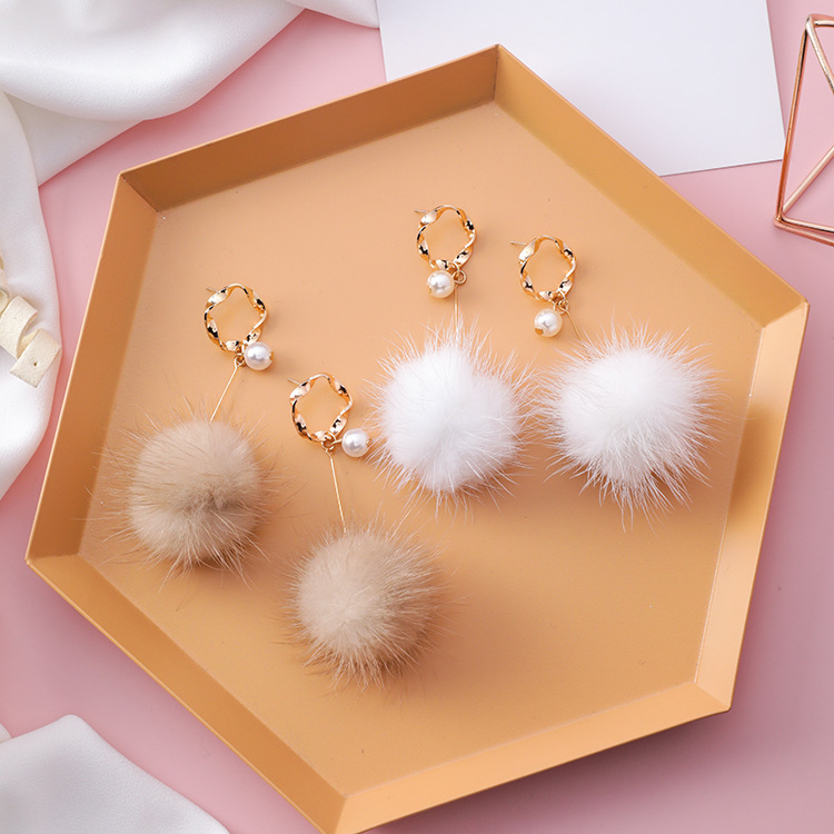 12pairs/lot Geometry of Ring Pearl Hair Ball Earrings South Korea Fashion Ring Long Hair Down Ball Earrings image
