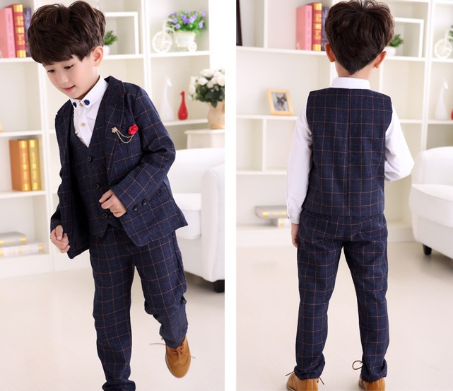 3-10Y new 2016 autumn boys high quality gentlemen plaid blazer clothing set 3pcs boys clothing kids jeans suit set high quality 3 11yrs boys