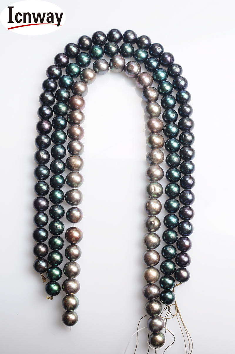 grey Peacock Green And Blue freshwater Pearl 12-13mm 15inches Diy Necklace Wholesale Freeshipping Natural Round Aa Black