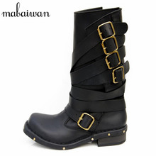 Handmade Rivets Martin Cowboy Boots Mid Calf Genuine Leather font b Women b font Motorcycle Boots