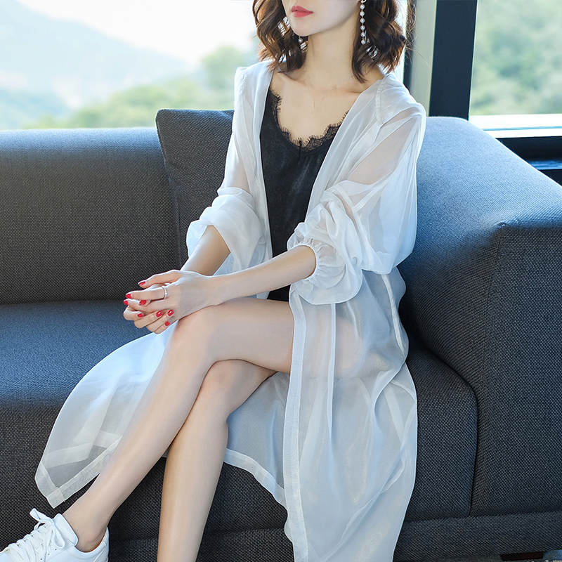 Summer Thin Hood Chiffon   Trench   Coats Women Plus Size Loose Long Cardigan Coat Female Sun Protection Clothes Beach Trenchs C5225